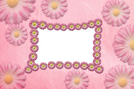 Artificial flowers  paper frame photo