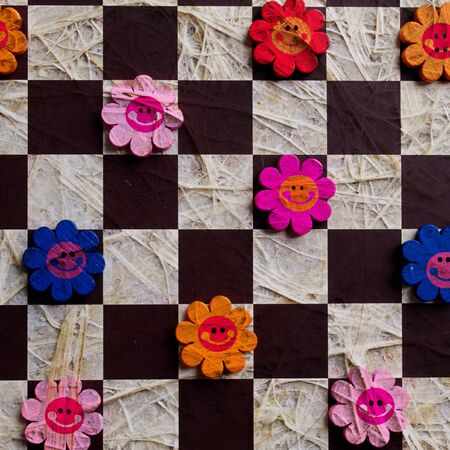 Artificial flowers paper &wood photo
