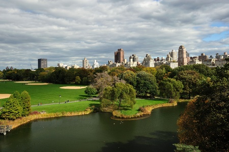 new york central park with surrounding buildings in autumn