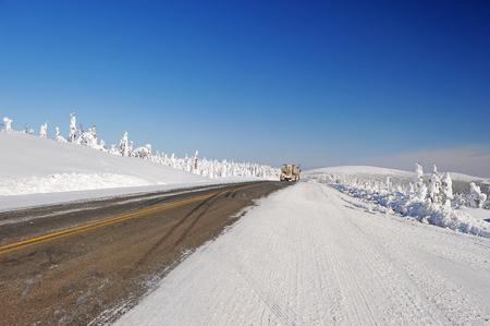 snow Dalton highway in alaska in winter