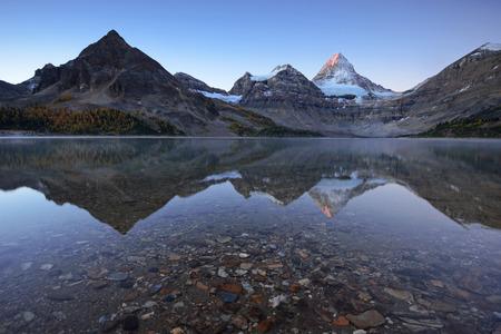 Canadian Rockies mountain range reflection Stock Photo