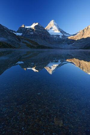 rockies: Canadian Rockies mountain range reflection Stock Photo