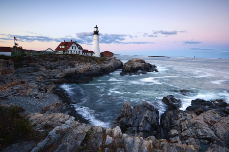 portland headlight in an evening during sunset