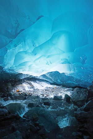 blue glacier ice cave near Juneau, Alaska Stock Photo
