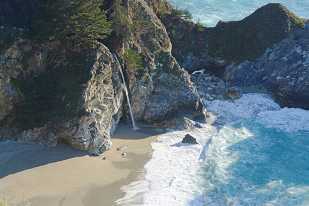 mcway: McWay falls is a popular destination along california route one highway