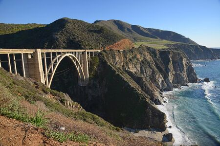 bixby: a historic Bixby bridge along coastline california route one Stock Photo