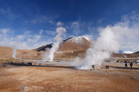 plume: hot vapor plume in El Tatio geyser in northern chile