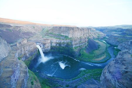 palouse: palouse falls in eastern washington in late afternoon