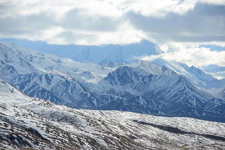 denali: snow mountain landscape in denali national park Stock Photo