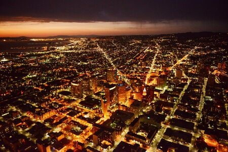 oakland: aerial view oakland city at night