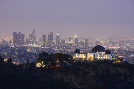 griffith: griffith observatory with Los angeles downtown at dusk Editorial