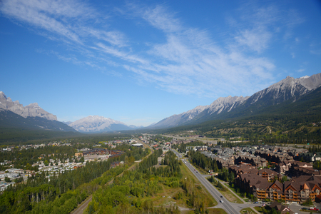 canmore: aerial view of canadian rockies mountain