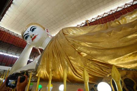 big eye: reclining buddha with big eye in yangon