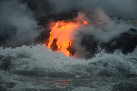 Lava entry to ocean at Big Island, Hawaii Stok Fotoğraf