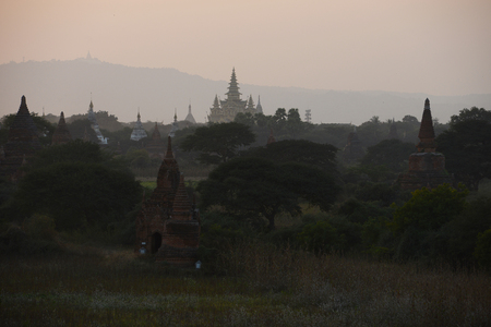 afternoon sunset with pagodas in bagan, myanmar Stock Photo