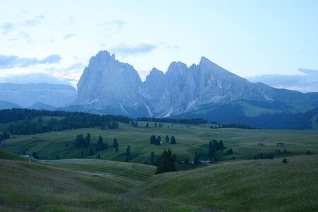 Italy Dolomite mountain called Alpe di Siusi Stock Photo