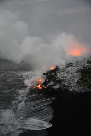 Lava entry to ocean at Big Island, Hawaii Stock Photo
