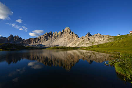 jagged mountain peaks in dolomite italy Stock Photo