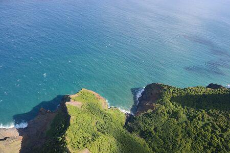 rugged kauai coastline from helicopter Stock Photo
