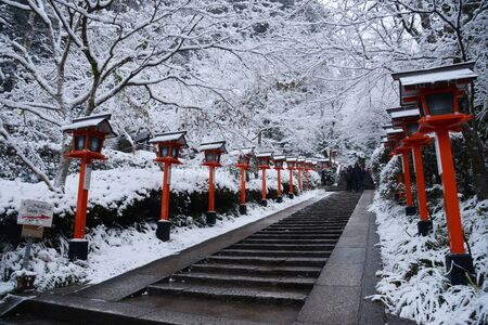Kifune Shrine with winter snow Stock Photo