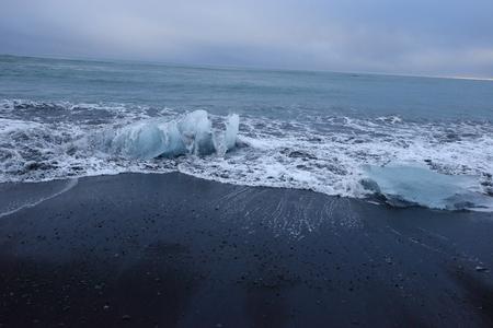 iceberg on black sand beach at Jokulsarlon