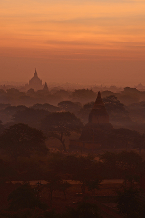 pagoda field in bagan myanmar in the morning Stock Photo