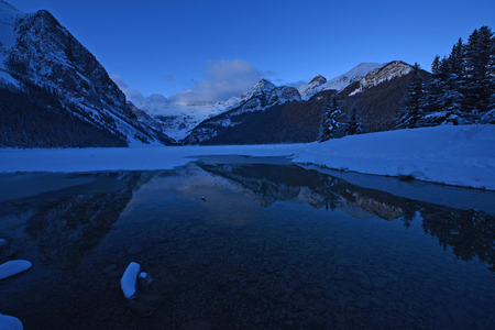 winter morning at lake louise with snow