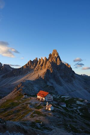 jagged mountain peaks in dolomite italy Stok Fotoğraf