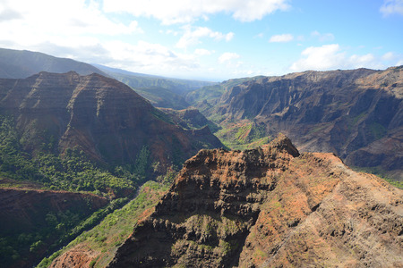 waimea canyon in kauai, hawaii from helicopter Stock Photo