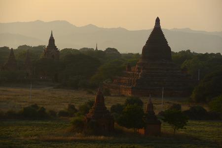 pagodas in bagan at sunset