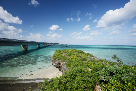 bridge to Ikema island in Miyakojima, Okinawa Stock Photo