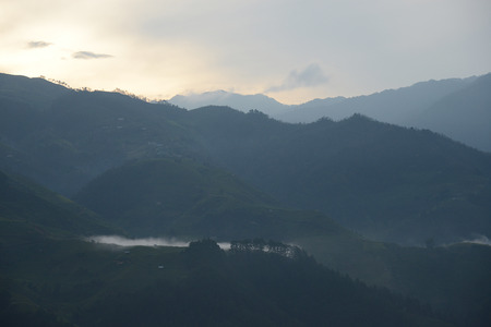 morning fog in mountain landscape in vietnam Stock Photo