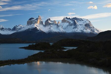 Sunrise at Torres del Paine Chile with lake Pehoe reflection Stock Photo - 137698810