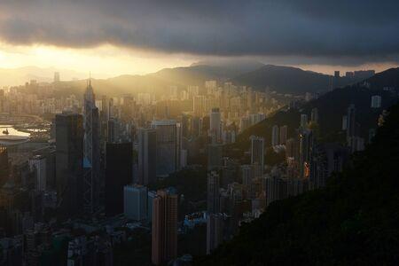 Hong kong sunrise scene from the peak Stock Photo