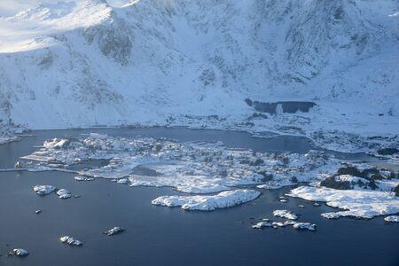 Lofoten Island aerial view in Winter