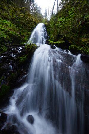 Small cascades of Fairy Falls in Columbia Gorge Oregon