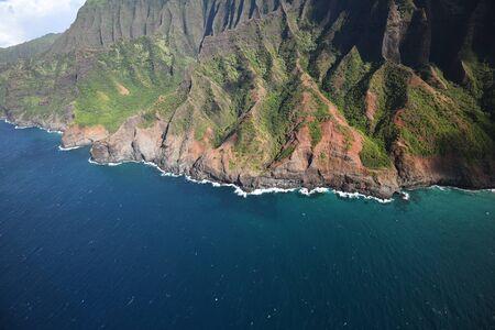Na Pali Coast in Kauai Hawaii from helicopter