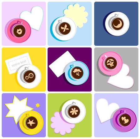 Coffee cups with sweet icon Vector