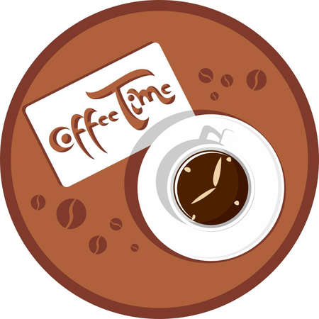 Coffee cup with clock and a sticker on which inscription Coffee Time