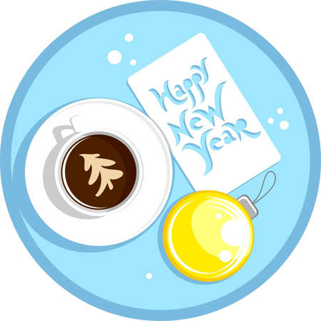 new year coffee cup Illustration