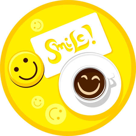 breakfast smiley face: Cup of coffee with smile