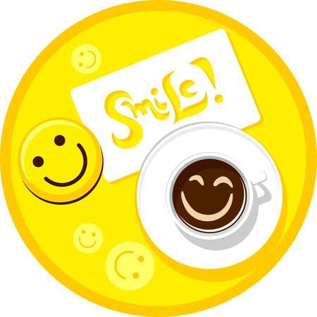 cara sonriente: Taza de caf� con una sonrisa
