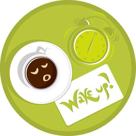 oclock: cup of coffee at six oclock Illustration