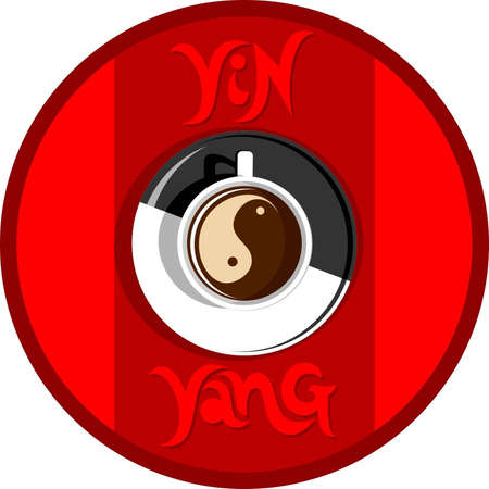 Yin yang coffee on red background Illustration