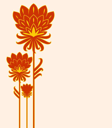 three red flower Vector