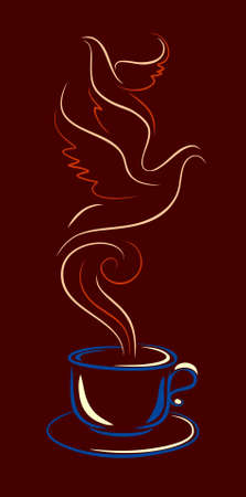 cup of coffee or tea with a couple in the form of birds Illustration