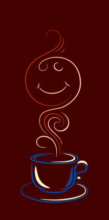 cup of coffee or tea with a couple in the form of smiley face