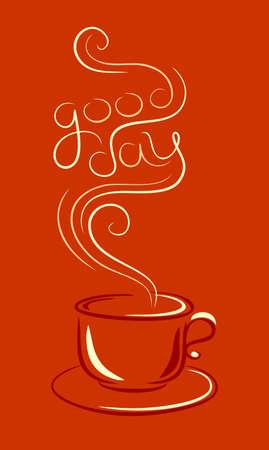 아침: 커피 또는 차 한잔 일러스트