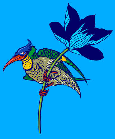 exoticism: colored bird in magnolia  Illustration