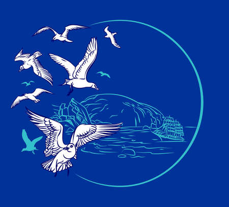 bunch of seagulls and sailing Stock Vector - 13763221